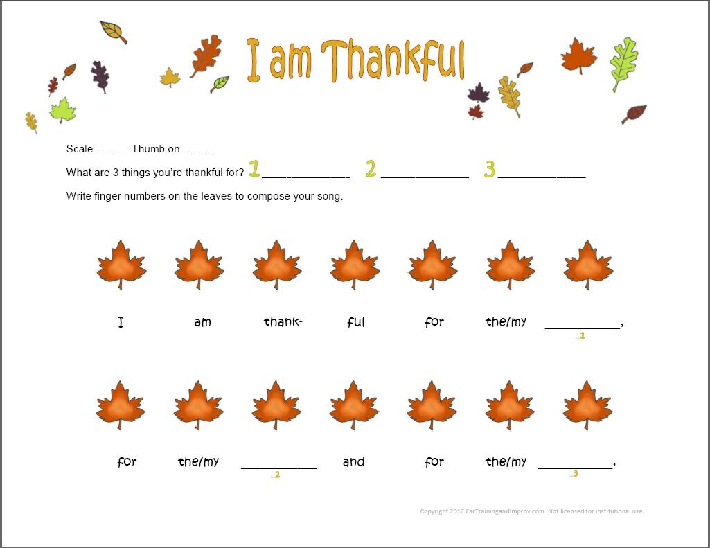 Thanksgiving Music Worksheets 9 Fun Free Printables for Kids – I Am Thankful for Worksheets