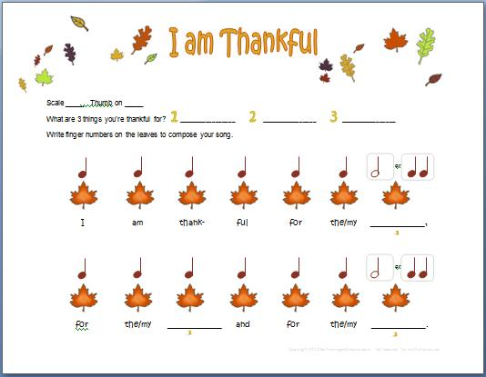 I Am Thankful Easy Piano Composition with Rhythm – I Am Thankful for Worksheets