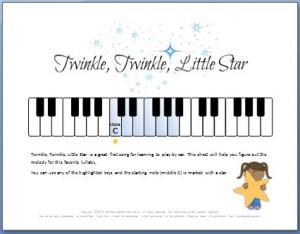 Twinkle twinkle little star piano notes