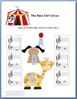 Bass Clef Circus Worksheet