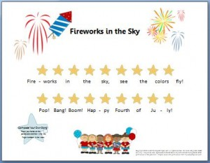 Piano Composition Worksheet for Fourth of July