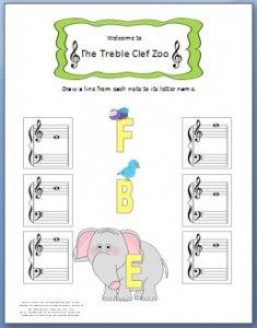 Treble Clef Worksheet