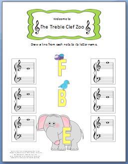 Treble Clef Zoo Worksheet