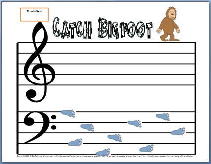 Bass Clef Notes Worksheet Catch Bigfoot My Fun Piano Studio