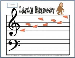 Free printable bigfoot activity for treble clef