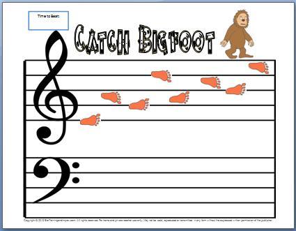 Treble Clef Notes Worksheet: Catch Bigfoot