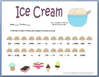 Piano Composition Worksheet: Ice Cream