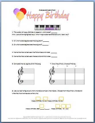 piano worksheet analyze happy birthday my fun piano studio. Black Bedroom Furniture Sets. Home Design Ideas