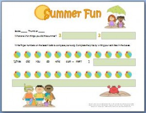 Piano Composition Worksheet for Summer