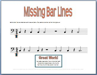 Fun Piano Lessons Idea--Missing Bar Lines Printable