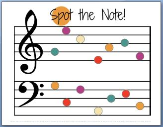 Spot the Note--a note name worksheet for music teachers