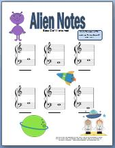 Alien themed bass clef worksheet
