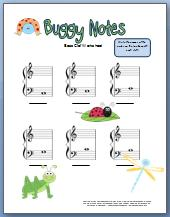free printable bug themed worksheet for bass clef notes