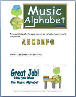 Music Alphabet  Worksheet