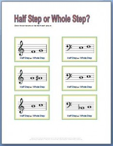 Music Theory Worksheets to practice half steps and whole steps