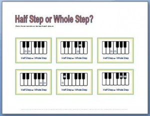 Music Theory Worksheet for teaching half steps and whole steps