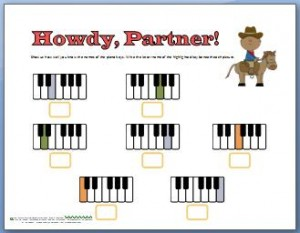 Piano worksheet for learning names of piano keys