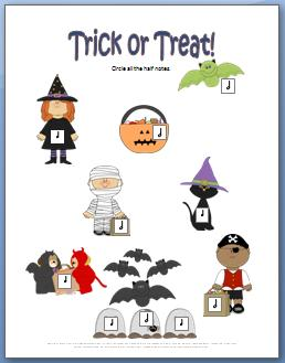 Trick or Treat: A Rhythm Worksheet for Halloween