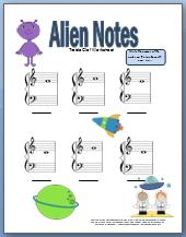 Free printable treble clef worksheet with alien theme