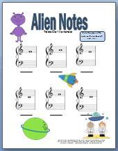 Free printable treble clef worksheet with alien theme