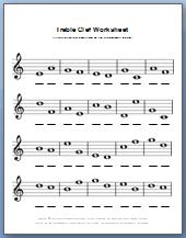 Free printable worksheet for treble clef notes in black and white