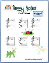 Free printable treble clef worksheet with bug theme