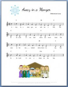 Away in a Manger Piano Chords printable