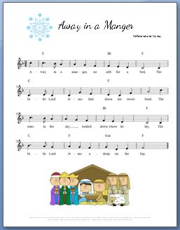 Away in a Manger Piano Sheet Music + Video Tutorial on Improvising the Left Hand