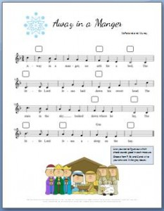 Away in a Manger Piano Sheet Music: Free printable