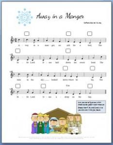 Away in a Manger Piano Sheet Music: Free printable