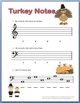 Piano Worksheets for Kids with Thanksgiving Theme