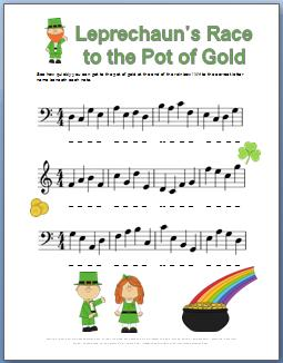 Piano Worksheet for Saint Patricks Day