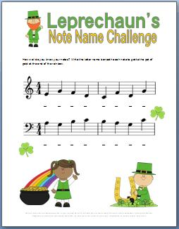 Note Name Worksheet for St Patricks Day