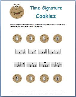 Time Signature Cookies Worksheet