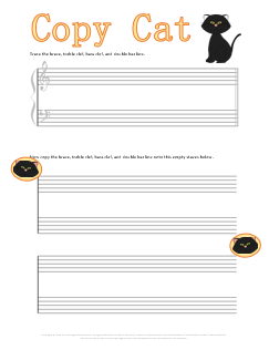 Copy Cat Music Symbol Worksheet for Halloween