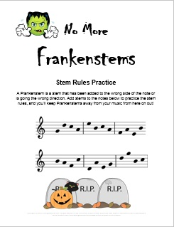 frankenstems_halloween_stem_rules_music_worksheet piano worksheets for kids