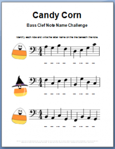 Halloween  Music Worksheet for Bass Clef Note Names