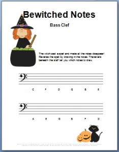 halloween music worksheet_bewitched bass clef notes