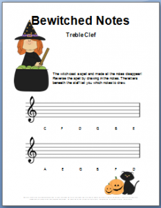 Treble Note Name Worksheet for Halloween