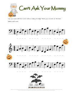 Halloween Note Name Worksheet Mummy