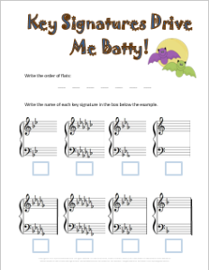 Free Halloween Music Theory Worksheet for flat key signatures
