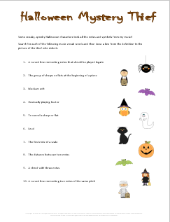 Music Vocabulary Worksheet and Game for Halloween