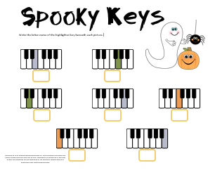 Spooky Keys Halloween Note Name Worksheet