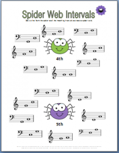 spider web music intervals worksheet for Halloween