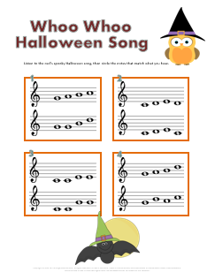 whoo Halloween ear training worksheet