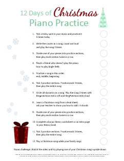 12 Days of Christmas Piano Practice