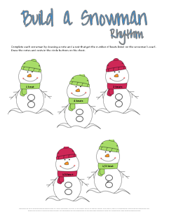 Build a Snowman Rhythm Worksheet
