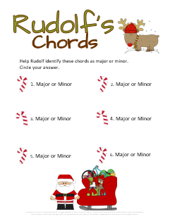 Christmas Ear Training Worksheet Rudolf's Chords