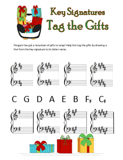 Christmas Music Worksheets Key Signatures