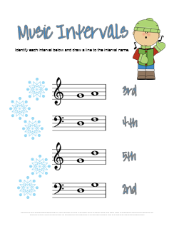 Music Intervals Worksheet for Christmas